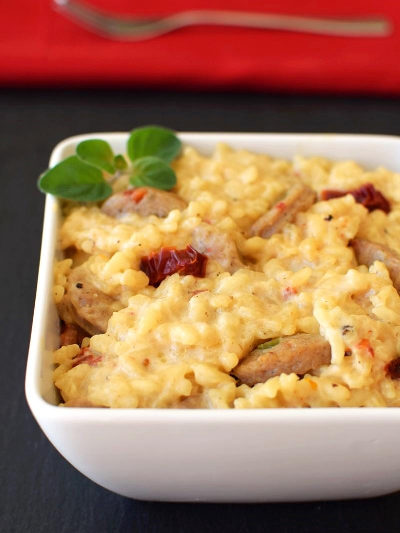 creamy risotto with sausage in a bowl