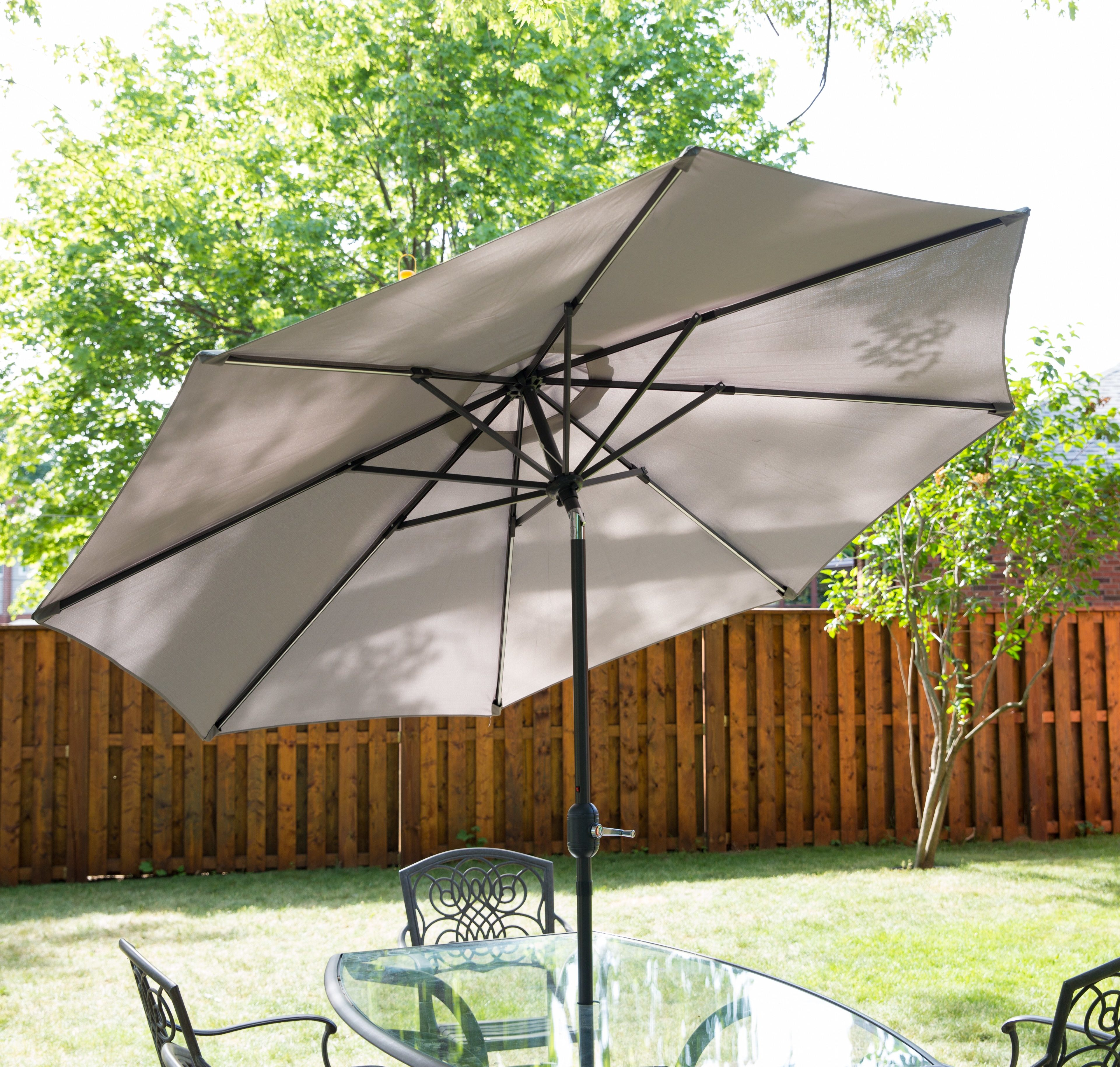 Grey patio umbrella with built in LED solar lights.
