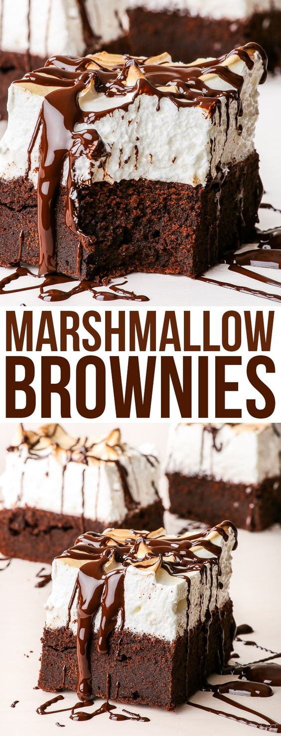 marshmallow brownies topped with chocolate sauce