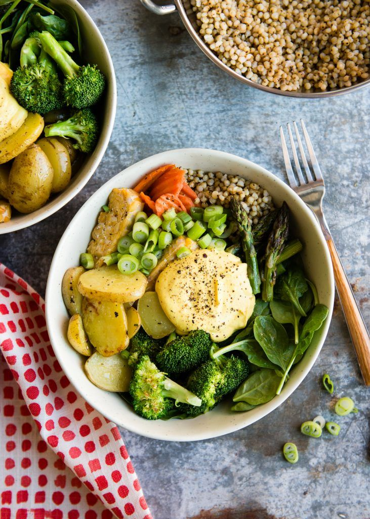 veggie bowl with spring veggies and turmeric dressing