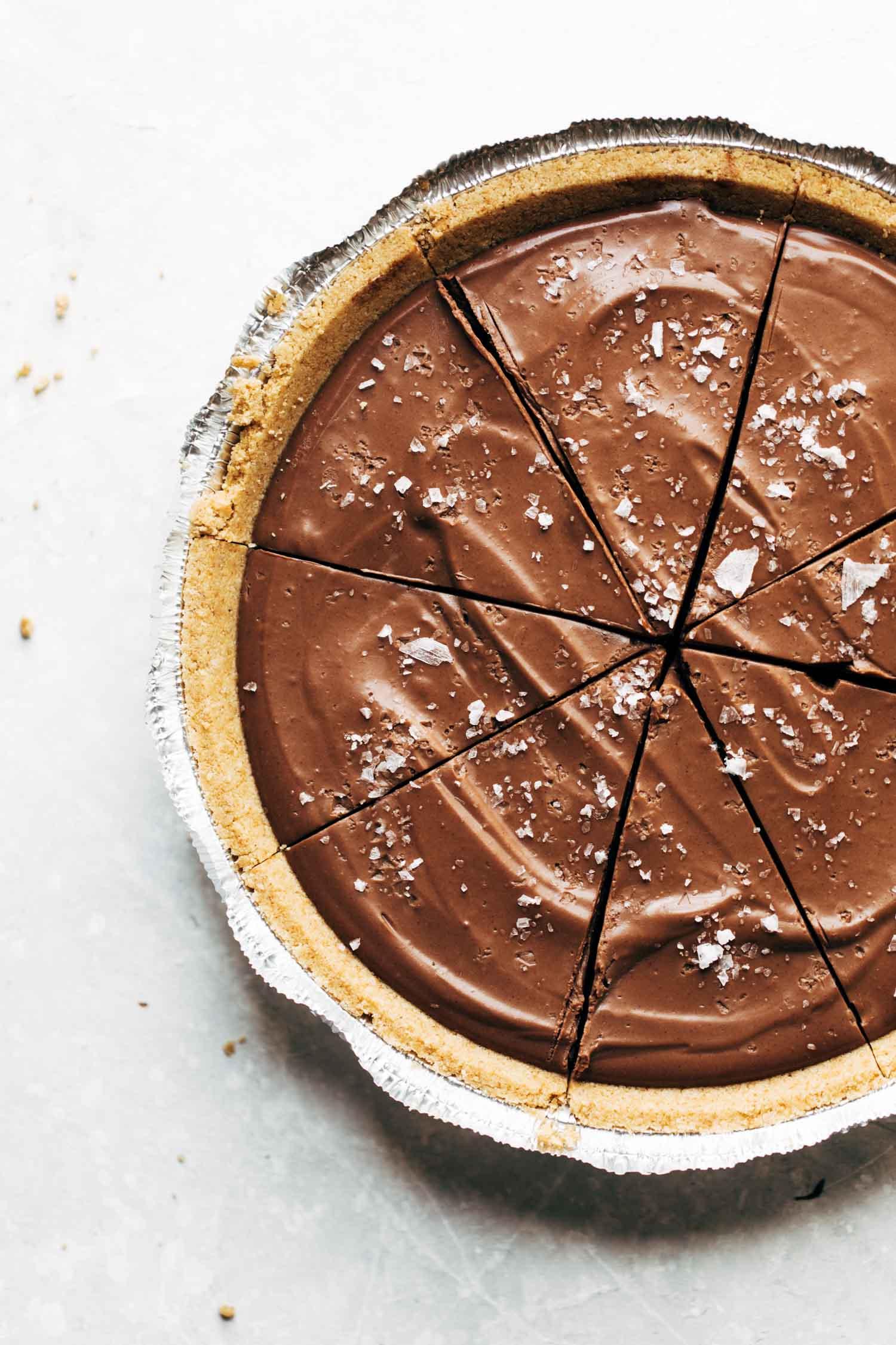 chocolate pie in a foil pie dish