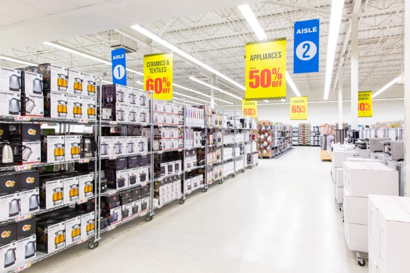 boxes of appliances in aisles