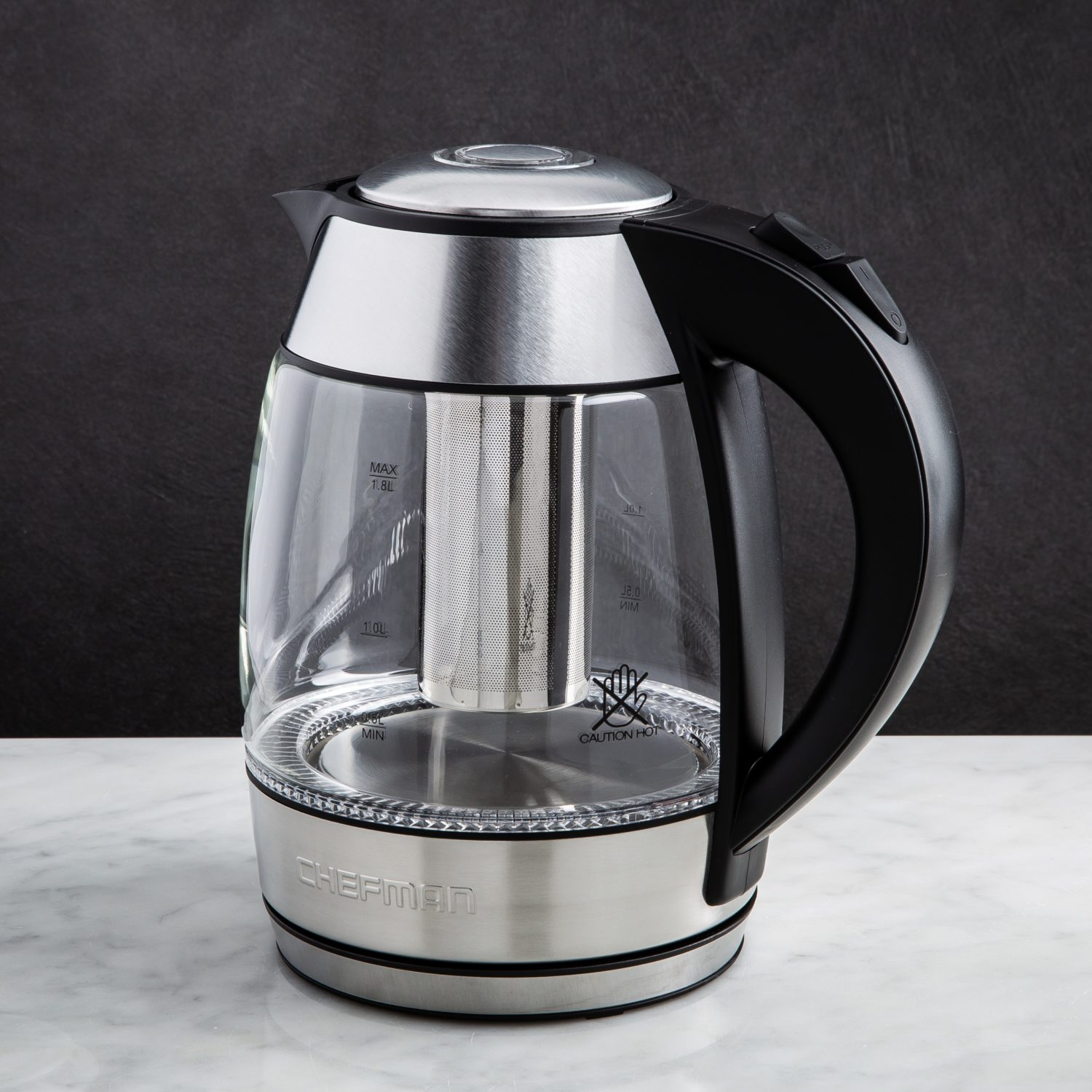 clear glass kettle boiling water
