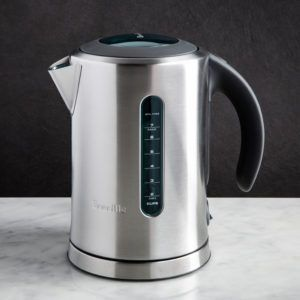 stainless steel kettle with a soft grip handle