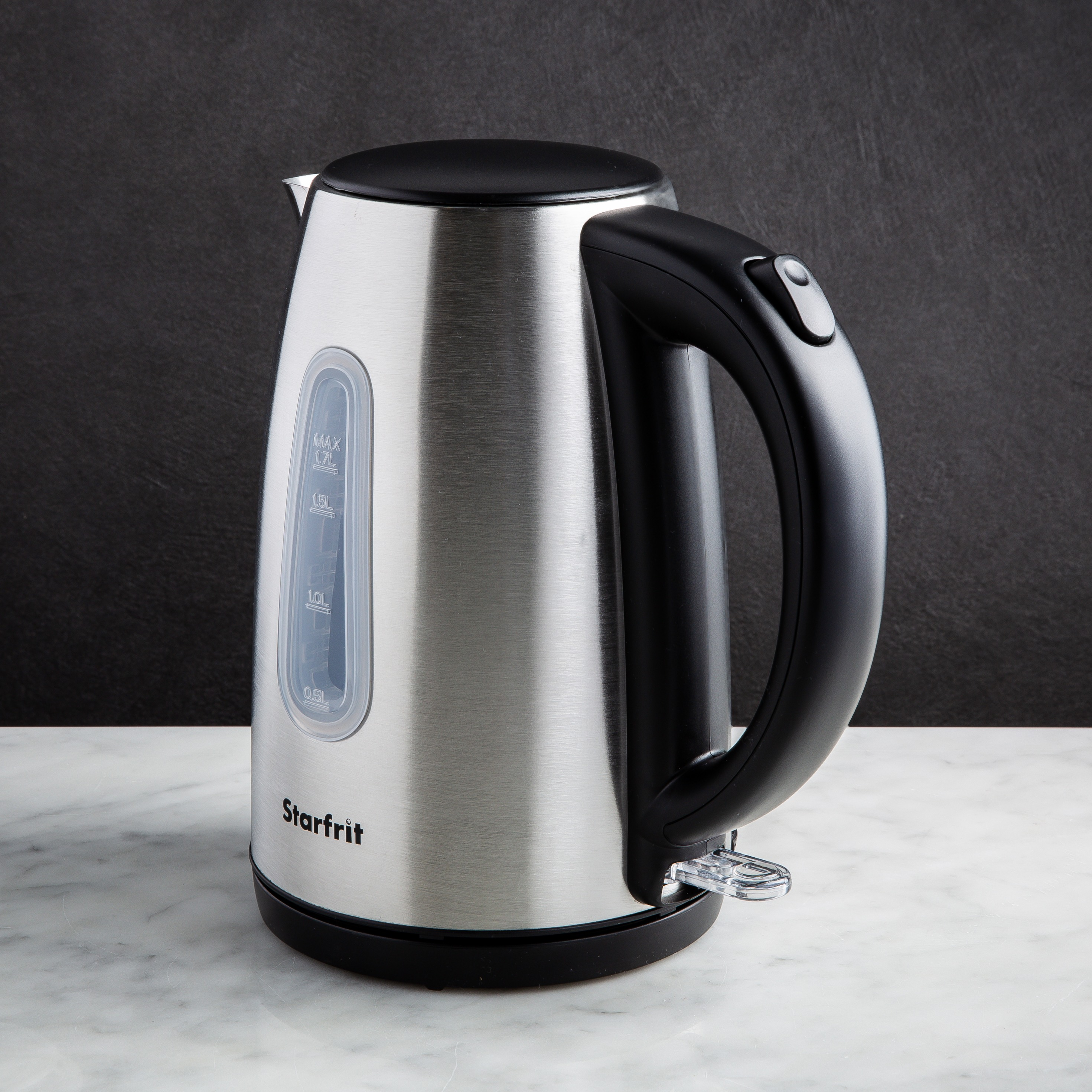 stainless steel kettle with black accents