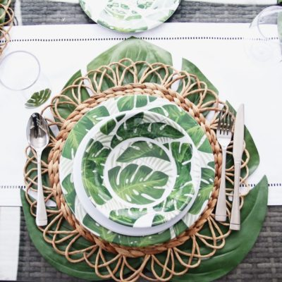 melamine dinnerware with leaf print