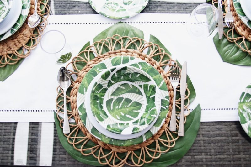 melamine dinnerware with leaf print