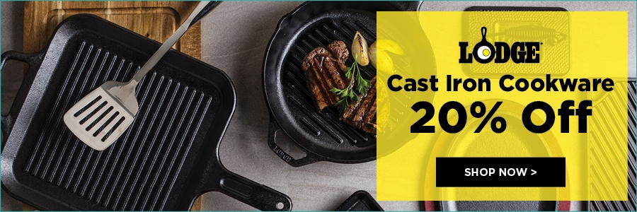 20% off lodge cast iron cookware