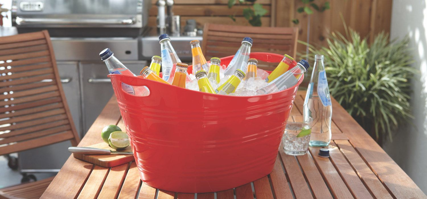 red party tub filled with drinks and ice