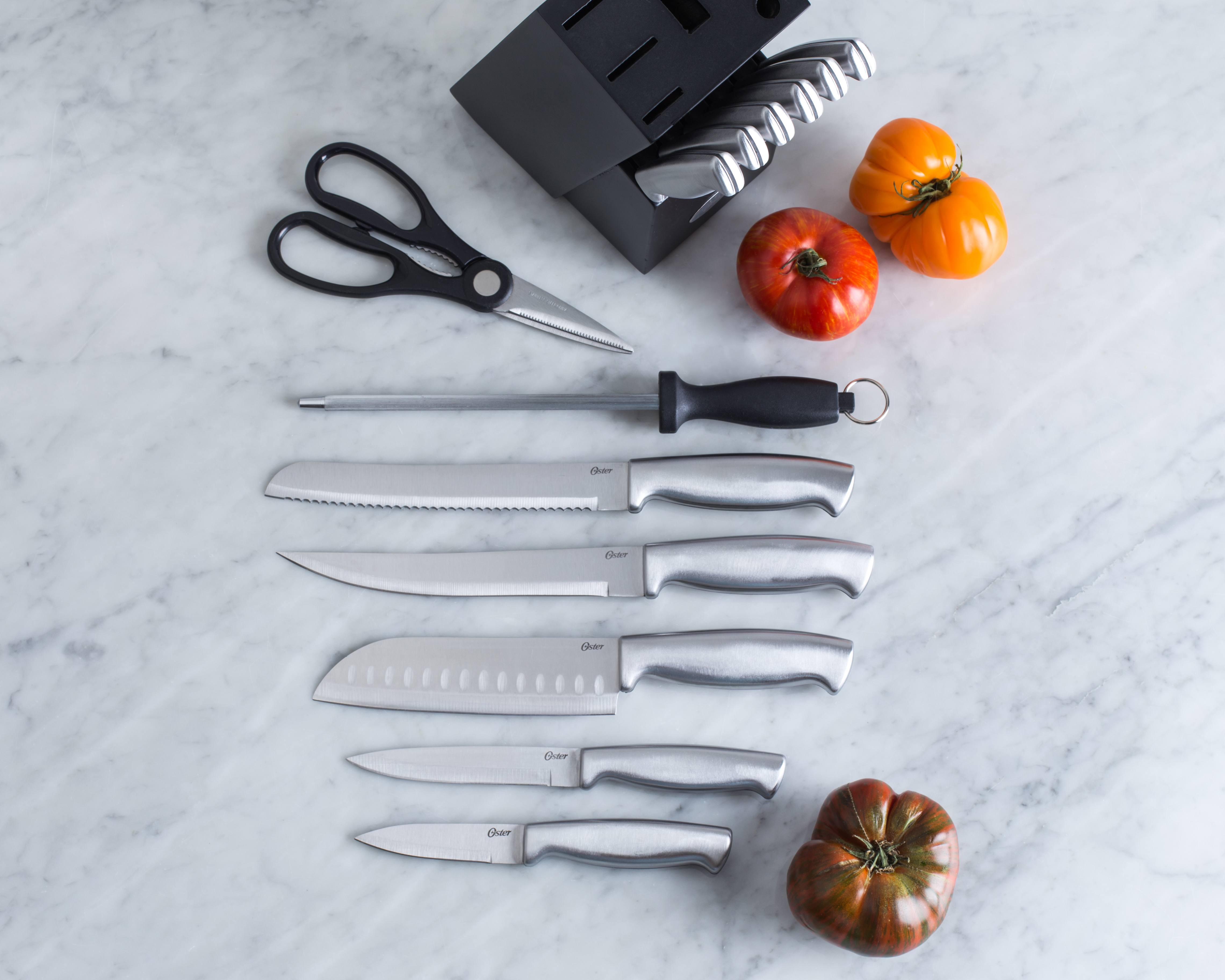 flat lay of stainless steel knife set