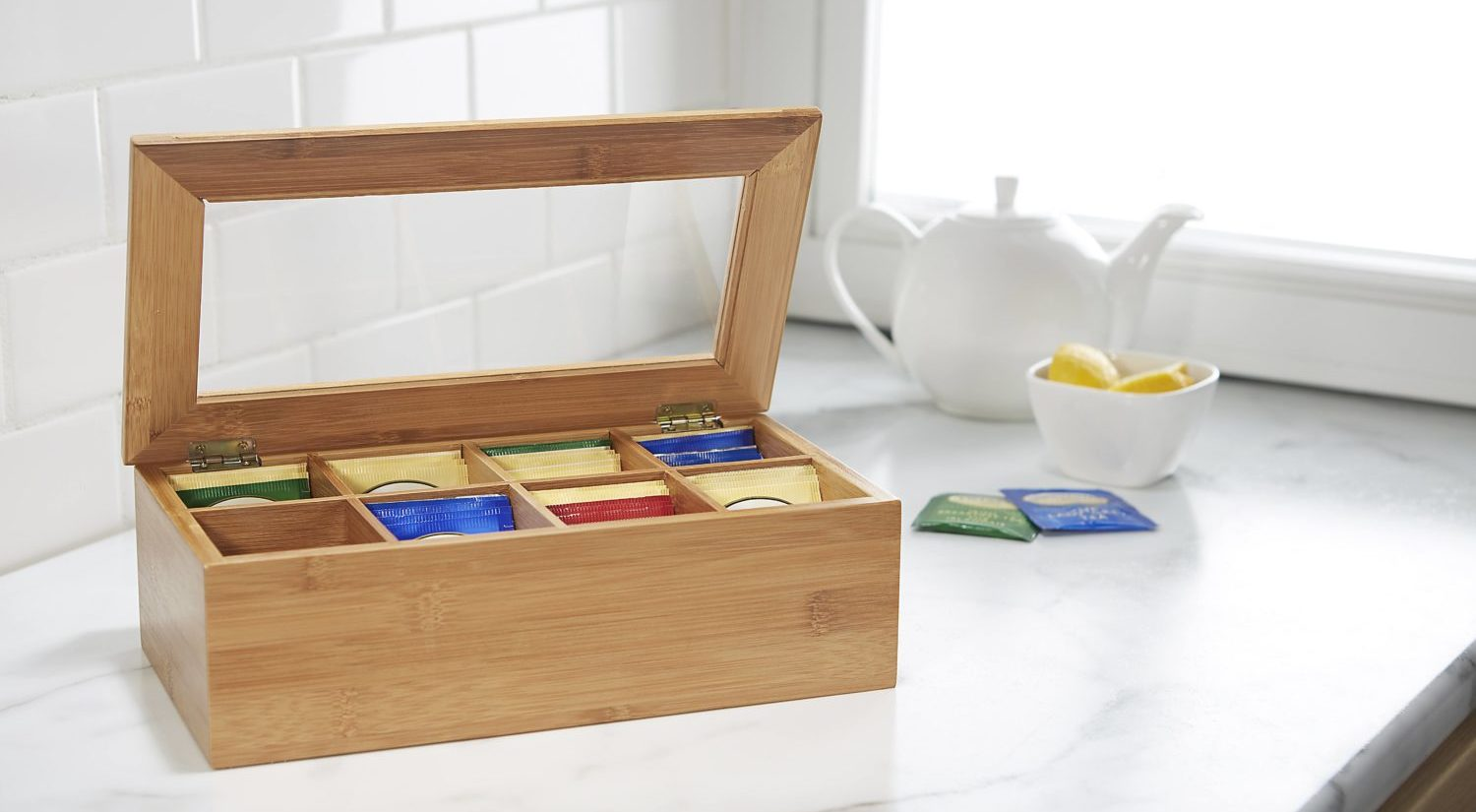 bamboo tea box with 8 compartments