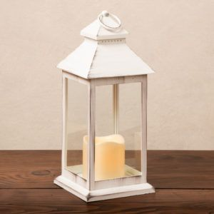 medium white plastic lantern with a led candle