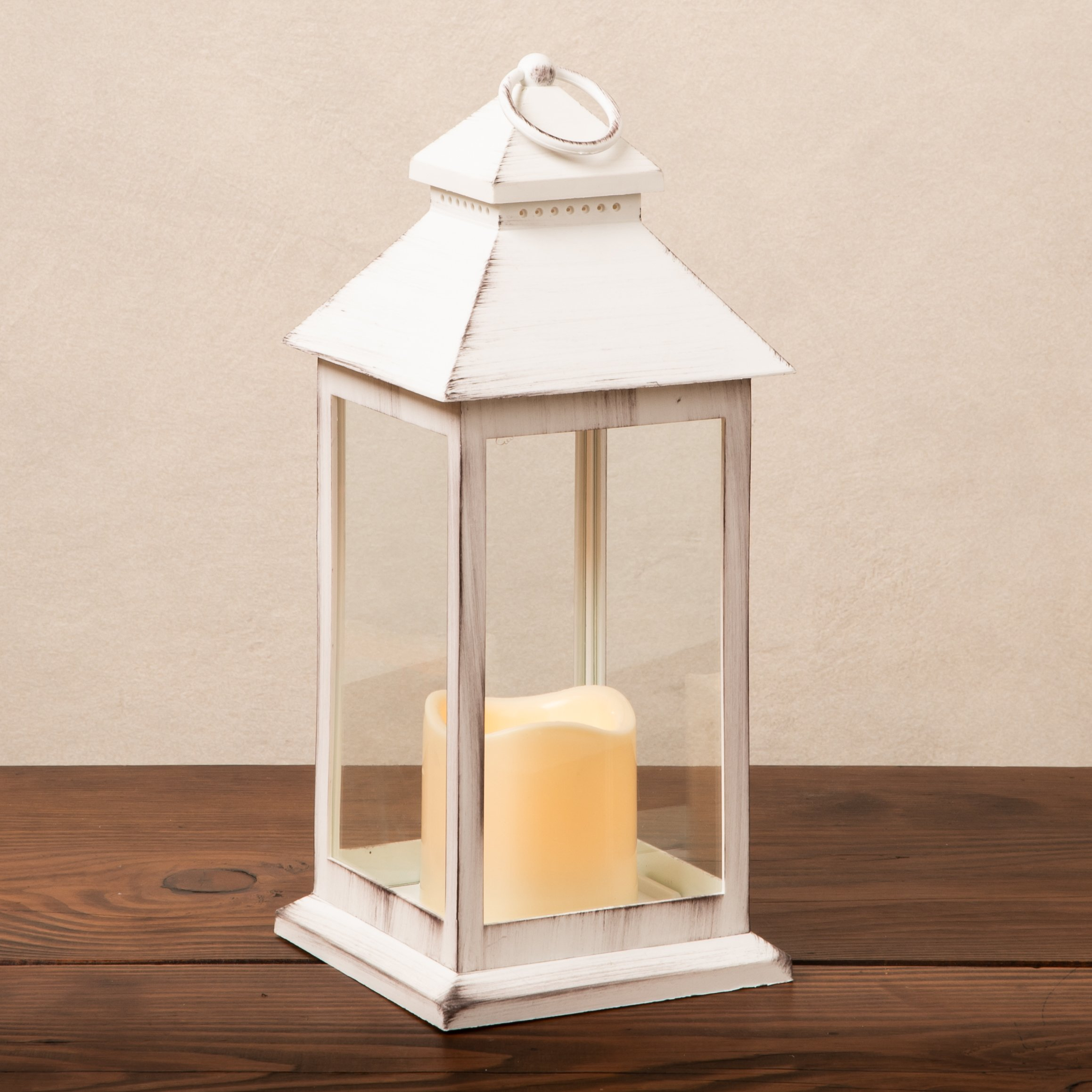 medium white plastic lantern with a led candle