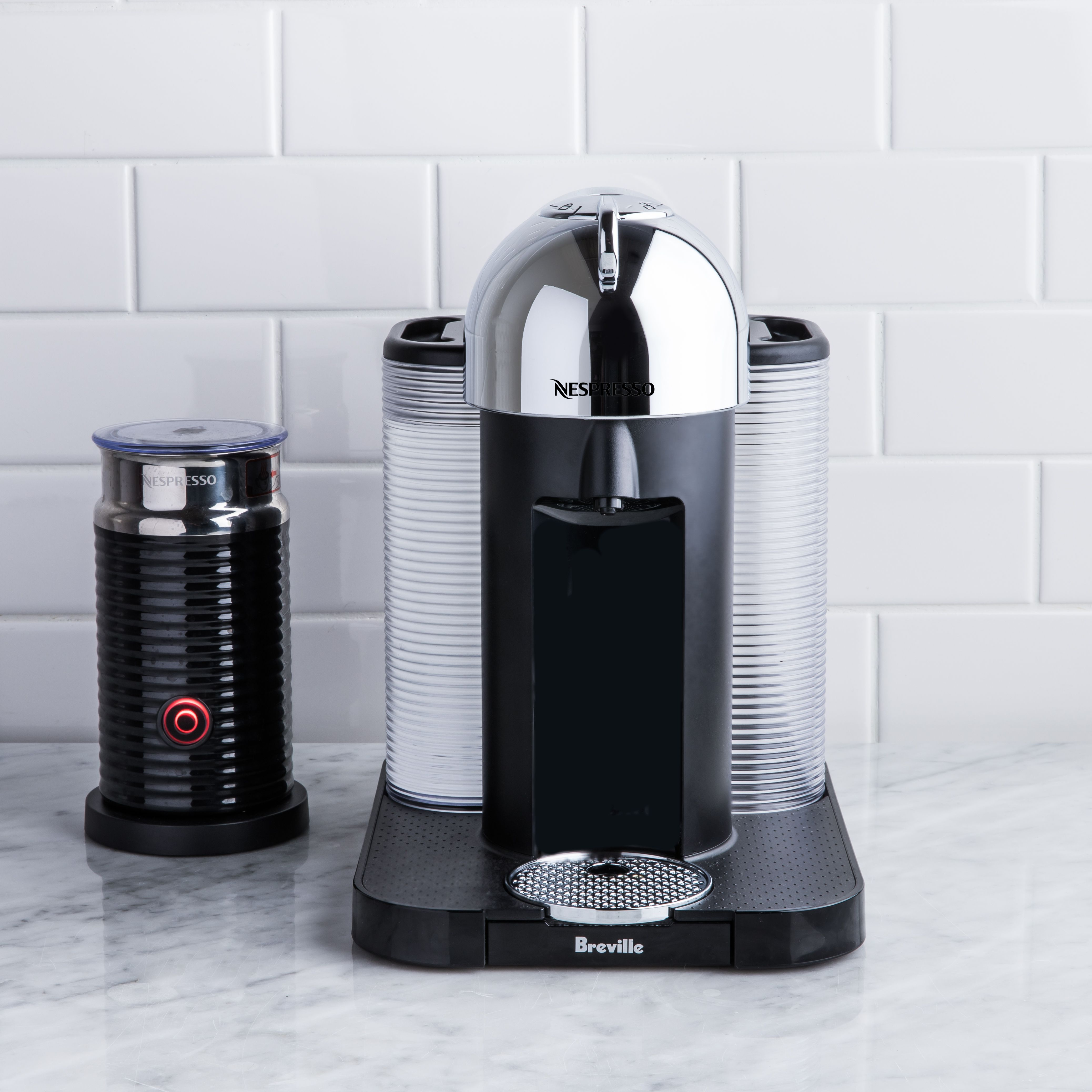 nespresso maker with milk frother
