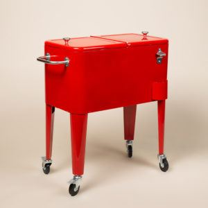 red cooler chest on wheels