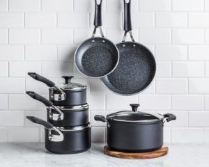 aluminum cookware set with saucepans, dutch oven, and frypans
