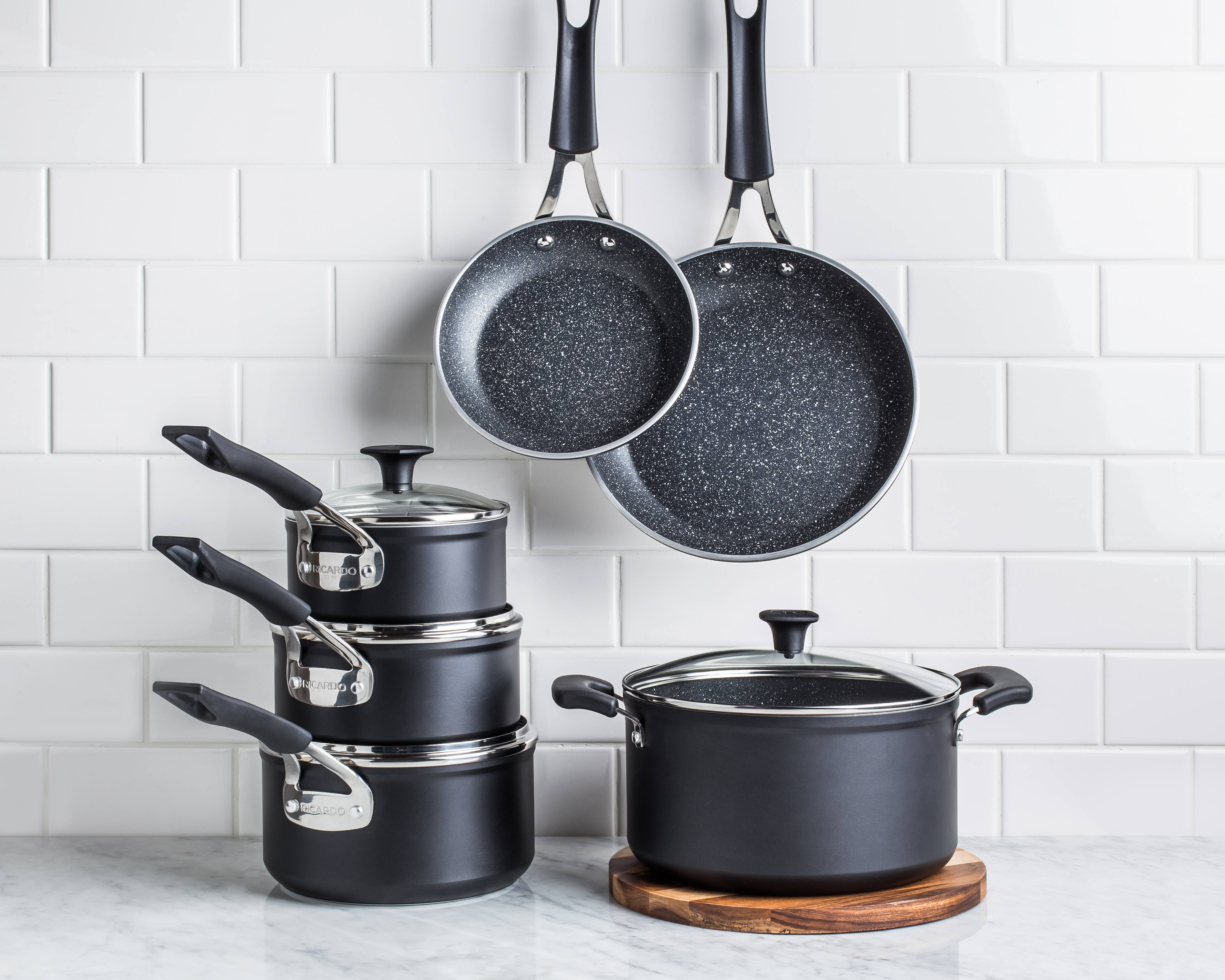 aluminum cookware set with saucepans, dutch oven, and frypans wedding gifts