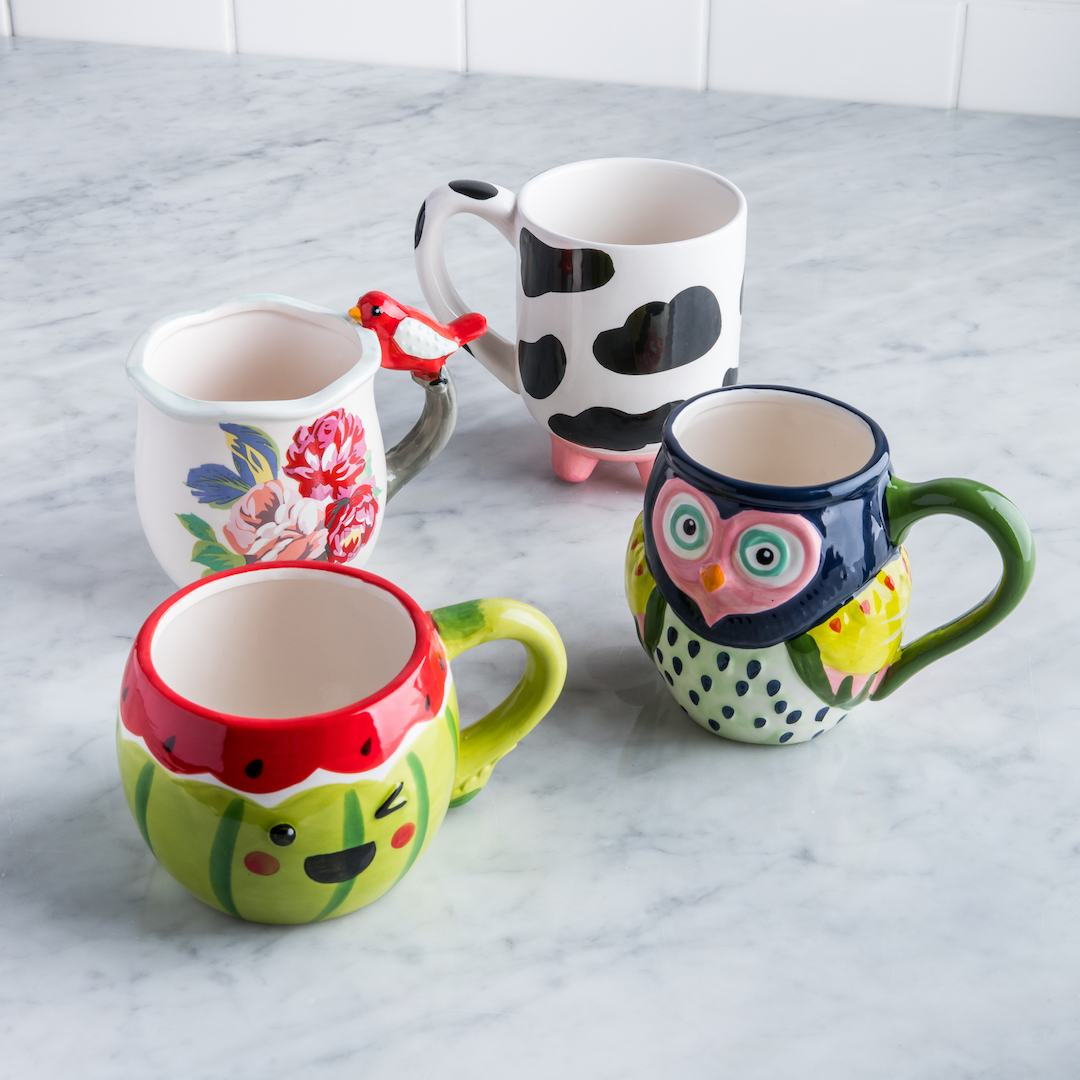 watermelon mug owl mug cow mug with udders bird mug