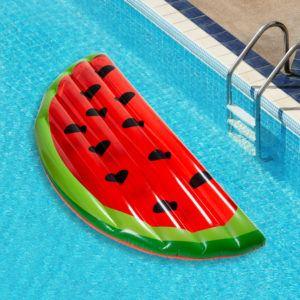 watermelon pool floatie in a swimming pool