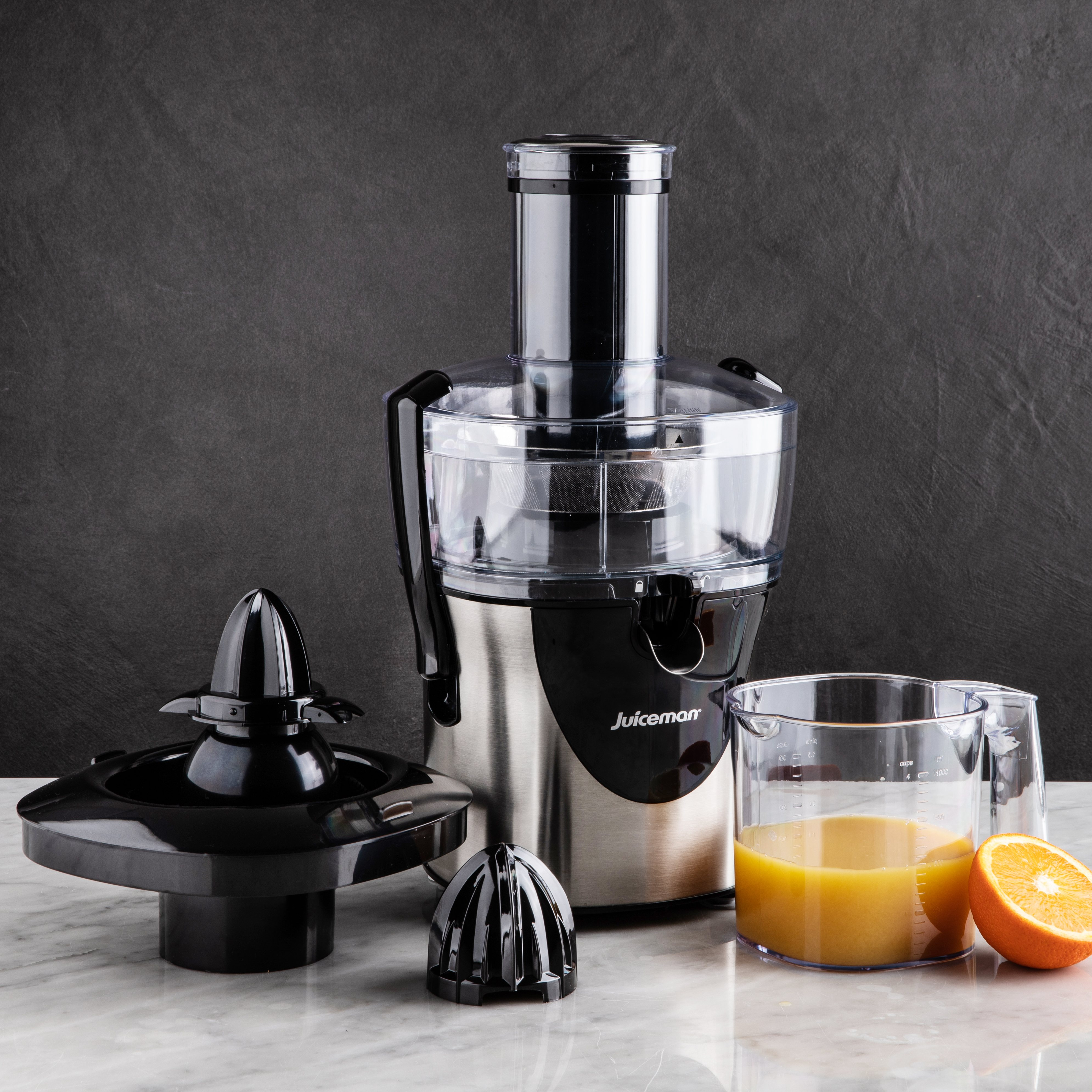 stainless steel juicer with oranges and orange juice lux wedding gifts