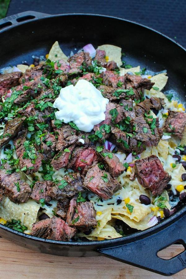 steak nachos in lodge cast iron skillet