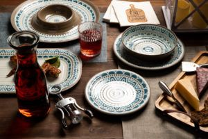 summer nights table scape with southwest dinner plate, side plate, bowl, and serveware