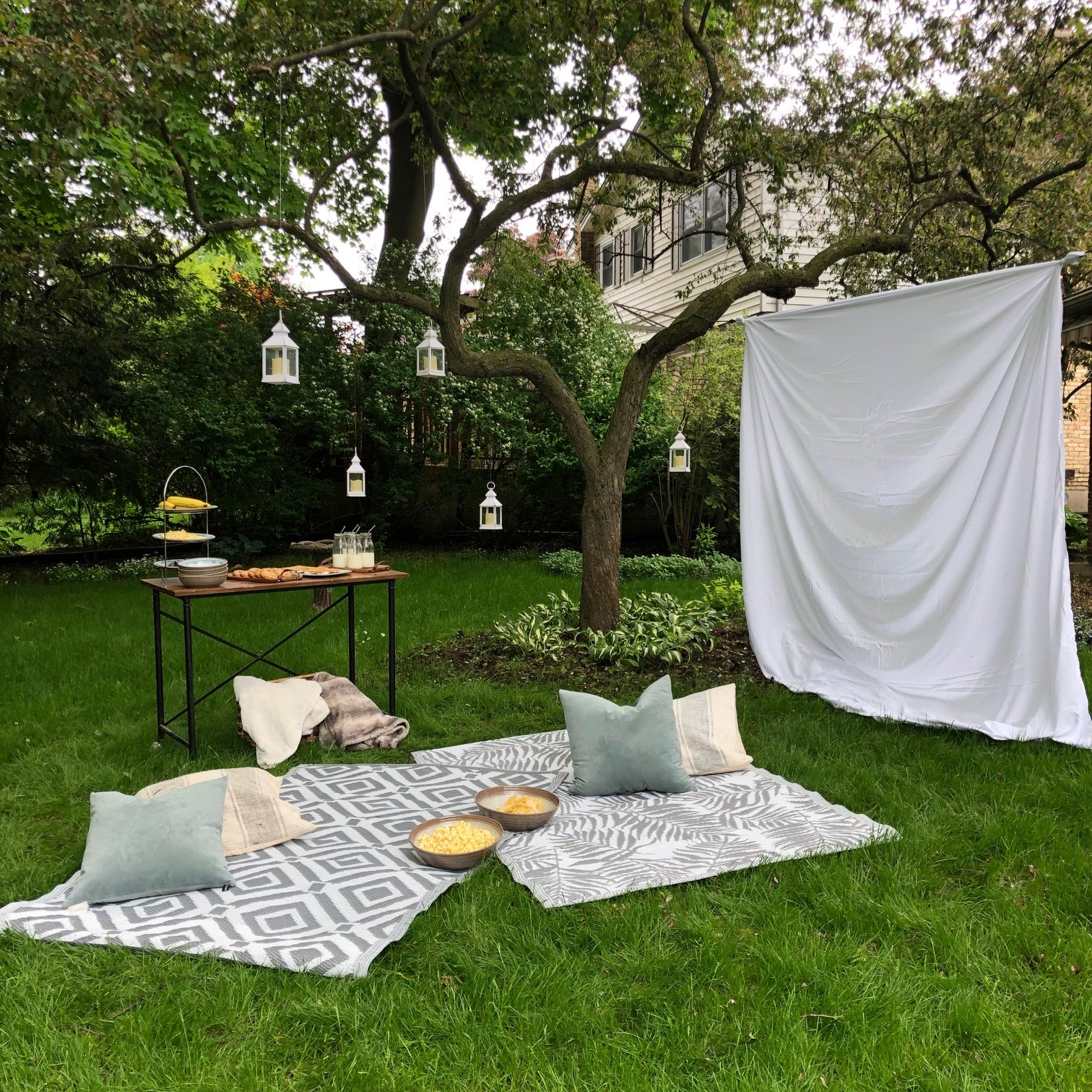 outdoor movie night with lanterns hanging in a tree, a bed sheet movie screen, rugs on the floor
