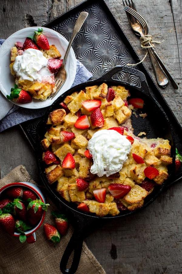 strawberries and cream bread pudding in lodge cast iron