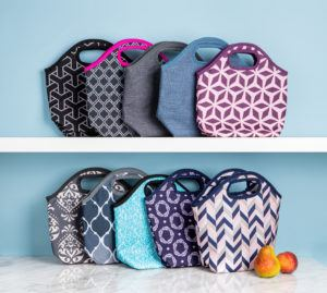 8 different styles of the Bella lunch bag