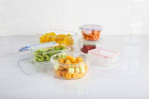 various sized glass food storage containers