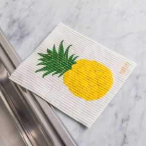 reusable cleaning cloth with a pineapple design