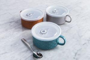 three stoneware soup mugs