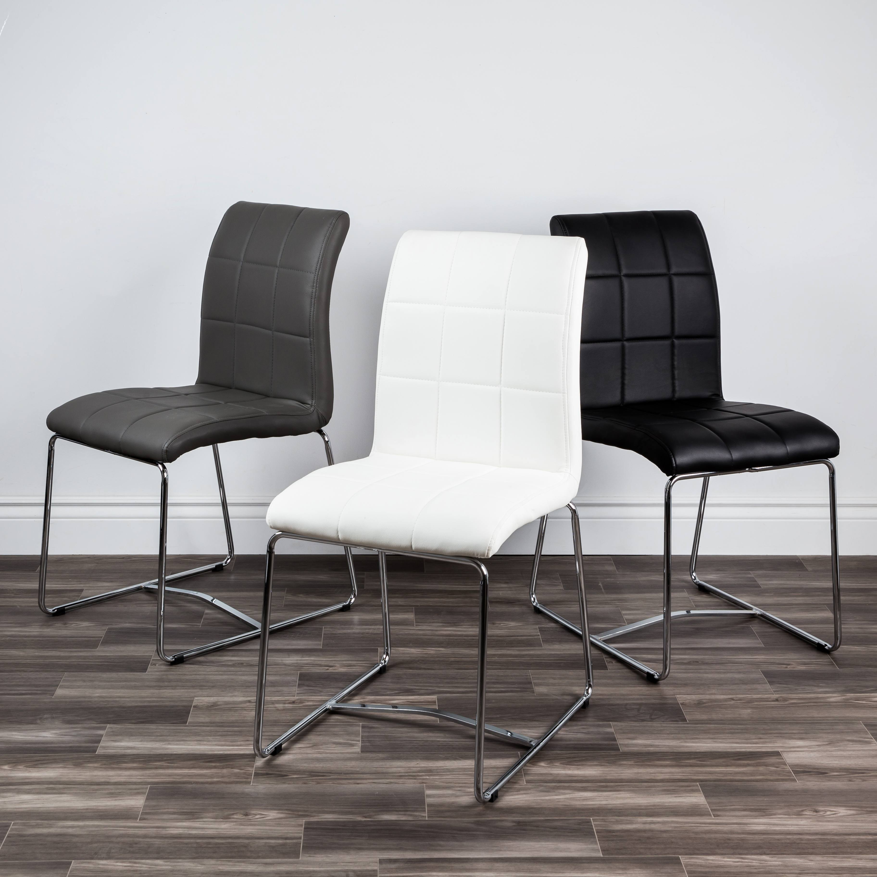 3 faux leather dining chairs, 1 grey, 1 white, 1 black, best-selling furniture