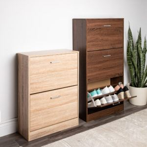 2-drawer natural toby shoe cabinet and 3-drawer espresso toby shoe cabinet with the bottom drawer open and filled with shoes best-selling furniture