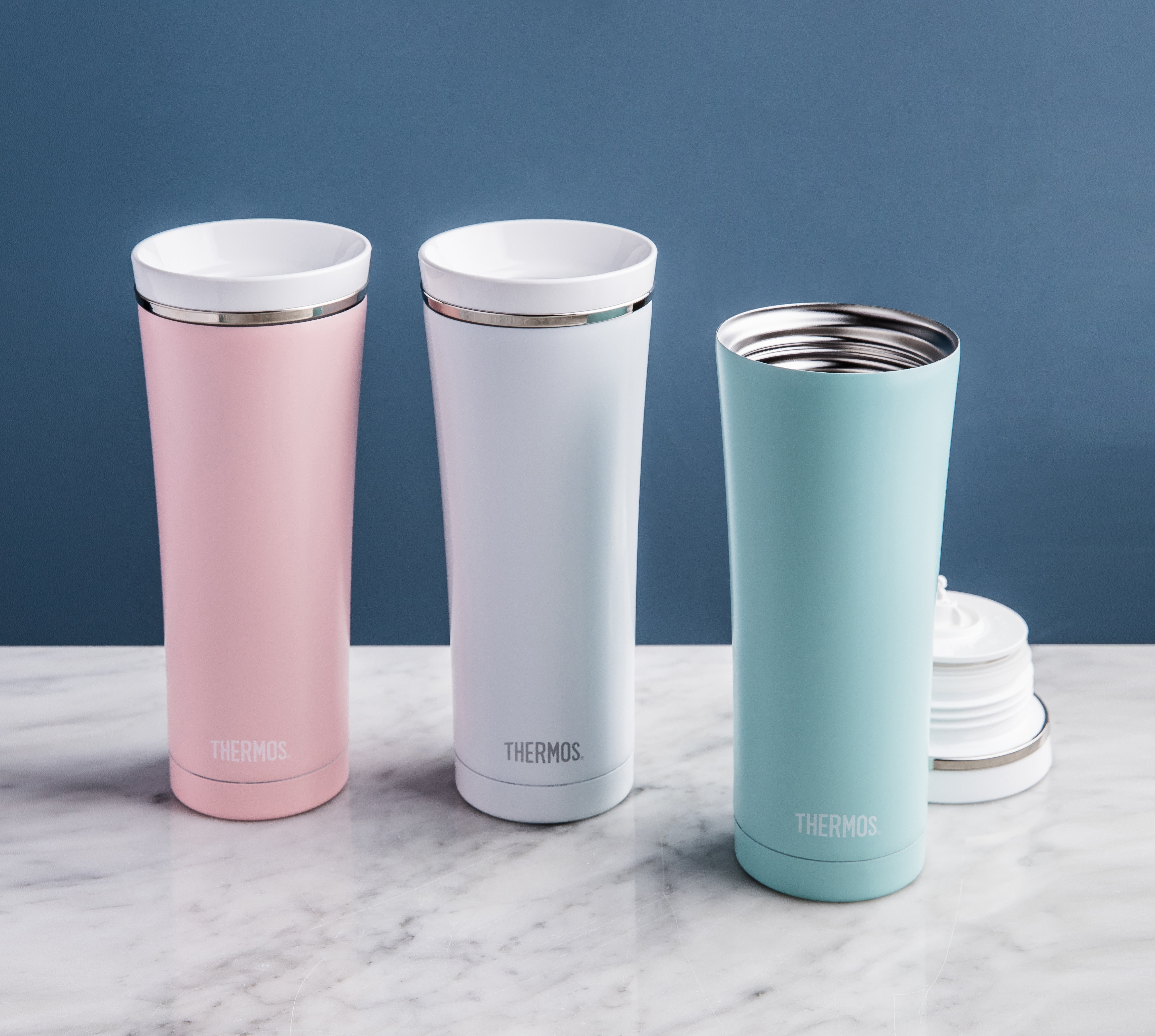 one matte pink, one matte white, and one matte turquoise no handle thermos