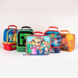 pokemon lunch bag, minecraft lunch bag, super mario lunch bag, paw patrol lunch bag, toy story lunch bag