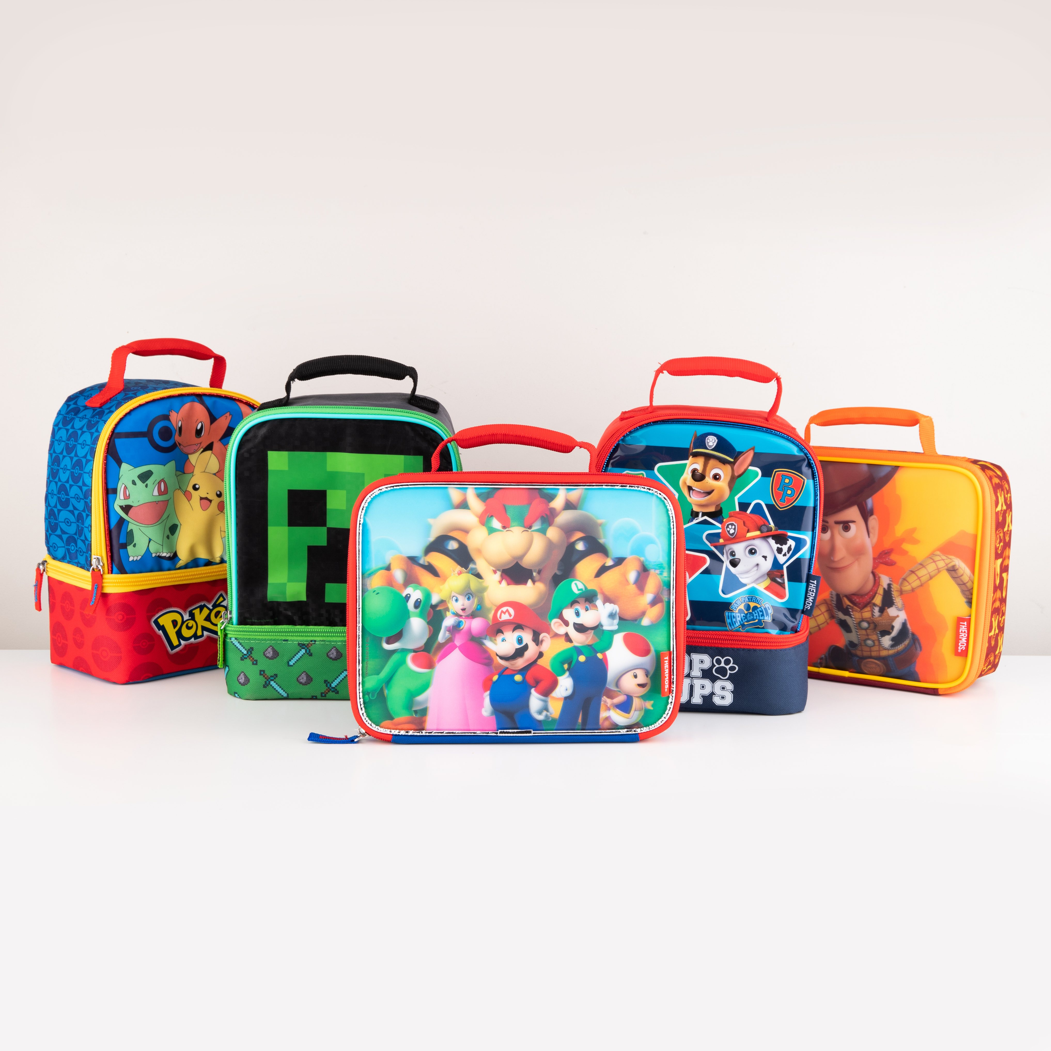 pokemon lunch bag, minecraft lunch bag, super mario lunch bag, paw patrol lunch bag, toy story lunch bag