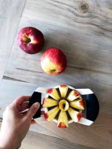 apple slicer slicing and coring an apple