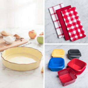 yellow tuscana pie dish, red cherry-coloured dish towels, berry food saver