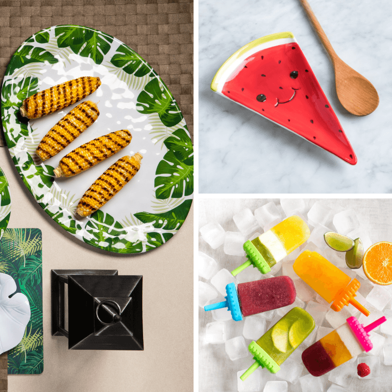 collage with a green leaf serving platter, a watermelon spoon rest, and popsicles
