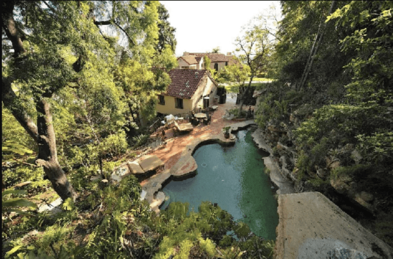 katy perry backyard with lagoon pool
