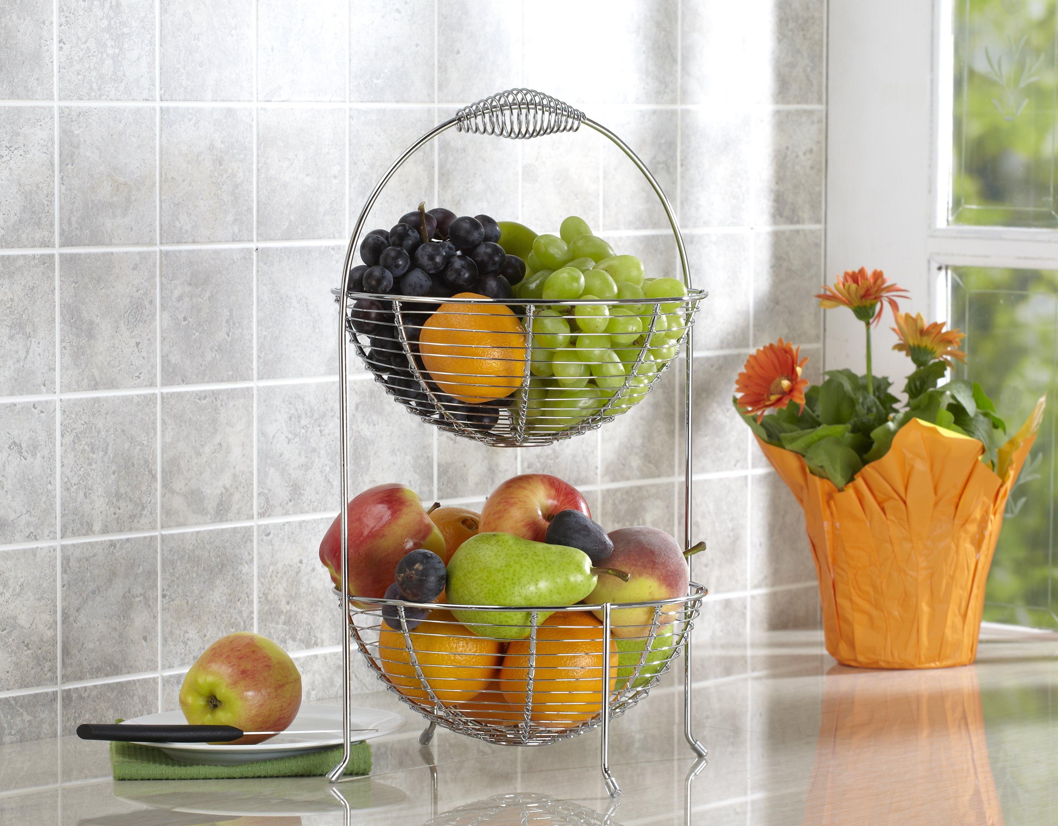 2-tier fruit basket filled with fruit - easy snack station