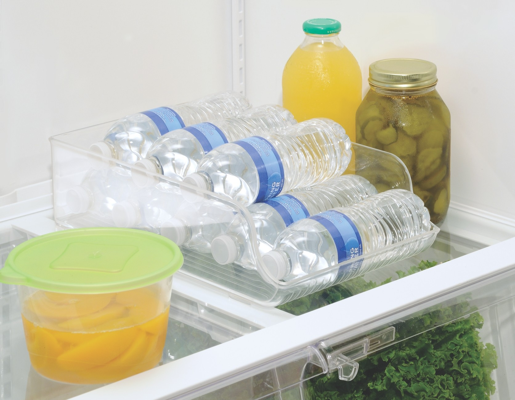 water bottle holder with water bottles in the fridge