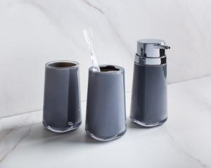 grey soap pump, toothbrush holder, and tumbler