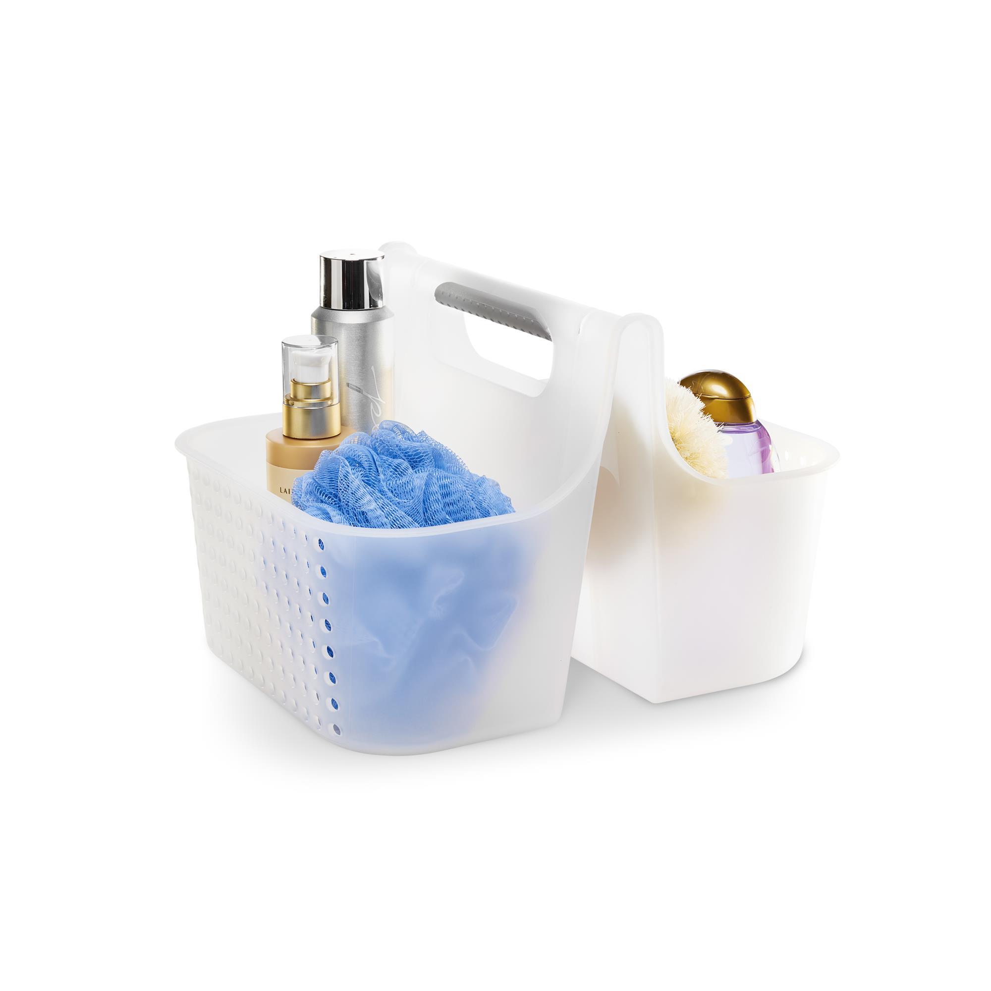 white soft grip shower tote with shower essentials