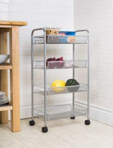 silver storage rack on wheels