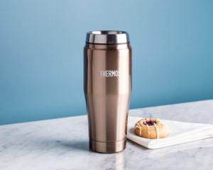 rose gold thermos mug with no handle