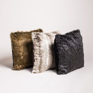 3 faux fur cushions in different colours