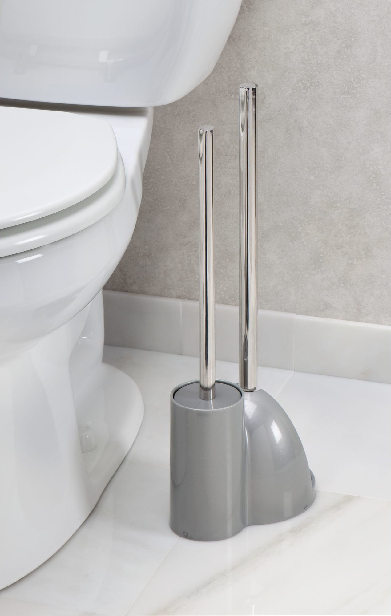 things you need grey toilet brush and plunger
