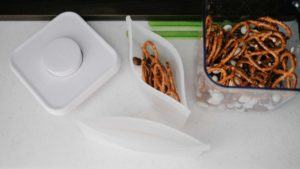 reusable silicone bag with pretzels